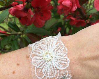 Tulle embroidered bridal bracelet, wrist cuff, embellished with Swarovski crystals and pearls
