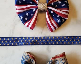 Americana Bows/ fourth of july bow/ memorial day bow