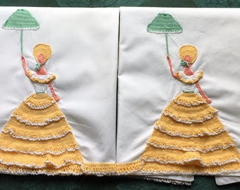 "2 Matching Vintage Pillow Cases Embroidered Crochet Lady with Parasol 34"" x 20"""