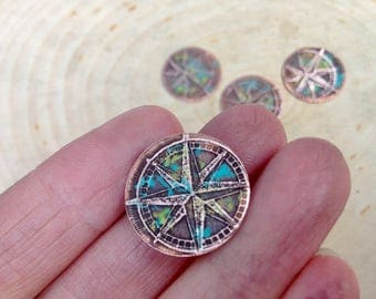 Etched copper compass jewelry components