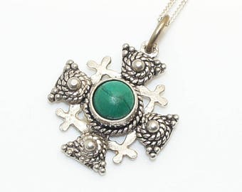 Vintage c.1940's Jerusalem 950 Silver & Malachite Ornate Crusaders Cross Pendant