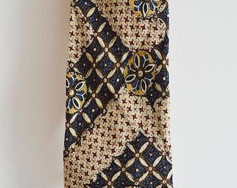 Patterned tie, necktie, No 1, gentlemans, beige, blue, Vintage 90s