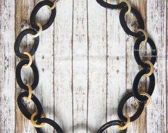 SALE OFF 30% super shinny lacquer coating finish like piano natural black horn necklace - collier en corne corne de buffle