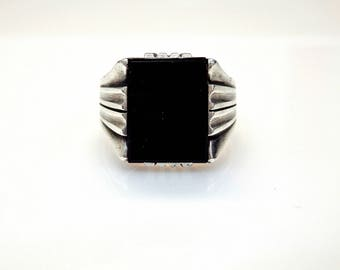 Sterling Silver Cabochon Cut Onyx Unique Design Signet Ring