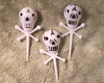 Vintage Halloween Plastic Skull Picks