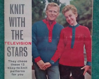 Vintage Woman's Mirror Knitting with the television stars
