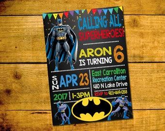 Batman Birthday Invitation -Batman Birthday Party Invitation -Batman Printable Digital File-Batman Invitation