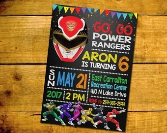 Power Rangers Invitation -Power Rangers Birthday Party Invitation -Power Rangers Printable Digital File-Power Rangers Invitation