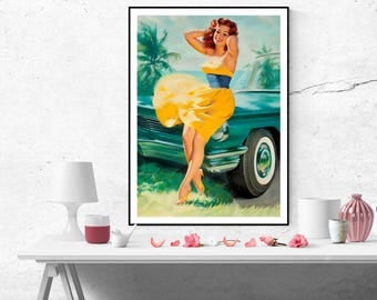 William Medcalf Red Haired Pinup Girl with Yellow Dress Vintage Art Poster Print Canvas Wall Art Home decor Pin Up poster size A2/A3/A4