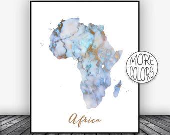 Africa Map, Africa Print, Africa Continent, Map of Africa, Map Wall Art Print, Office Prints, Housewarming Gift, Watercolor Art ArtPrintsZoe
