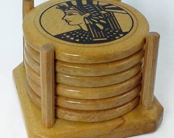 Wooden Coasters Set - Cleopatra - Egypt
