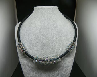 -Rigid collar with satin iridescent grey crystals made with tubular