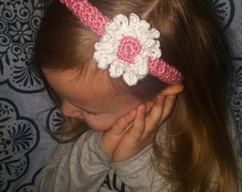 Crochet flower pink headband and barrets