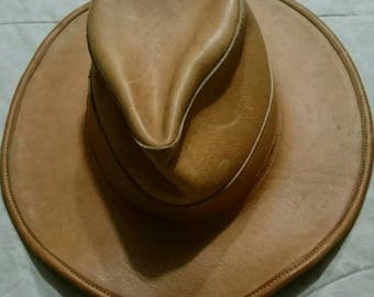 Vintage 1970's Tan Western Cowboy Leather Hat