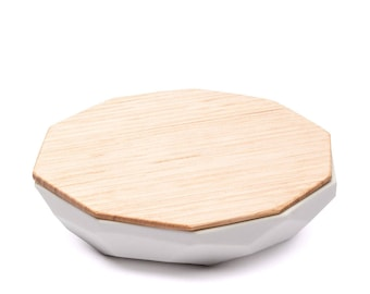 Faceted Jewellery Dish - Wood & Milk Porcelain (large)