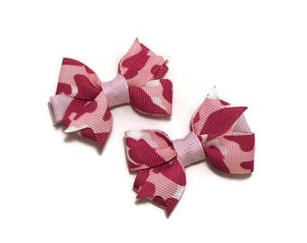 Pink and White Camo Hair Bows // Pigtail Hair Bow Set // Toddler Hair Bows // Hair Bows for Girls