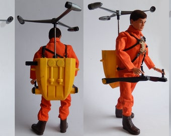 1970s HASBRO GIJOE Adventure Team, Man Of Action with Action Pack, Turbo Copter