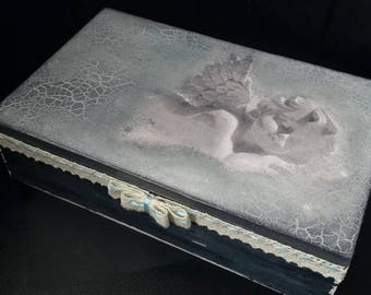 """Hand made wooden box """"Angel"""" * decoupage unique"""
