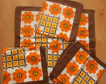 Set of 4 napkins vintage flowers Orange