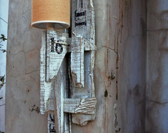 Lamp Assembly with reclaimed wood