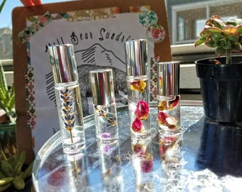 Flower and Gemstone Infused Roller Oil Perfumes