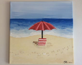 Small Acrylic Painting - Umbrella on the beach