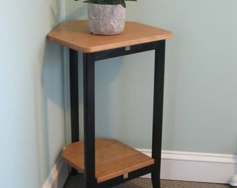 Handcrafted Wood Furniture. Solid Wood Corner Table with Natural Cherry Top and Black Lacquer Stand for any Room. Plant Stand. Corner Table.