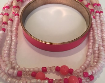 Vintage bangle bracelet and long bead necklace pretty in pink