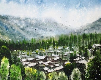 Watercolor on Paper - Landscape of Himachal Valley, India