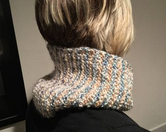 Hand Knitted Garter Stitch Cozy Cowl