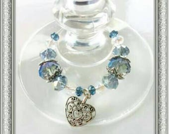 6 Crystal glass wine glass charms