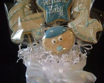 Welcome baby cookie bouquet | Custom decorated cookie gift | New baby boy or girl