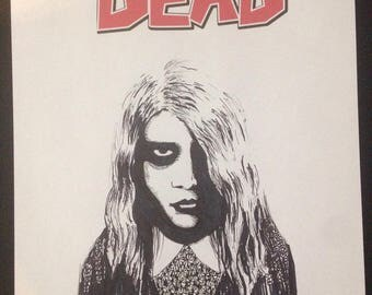 ORIGINAL Zombie mashup drawing The Walking Dead Night of the Living Dead