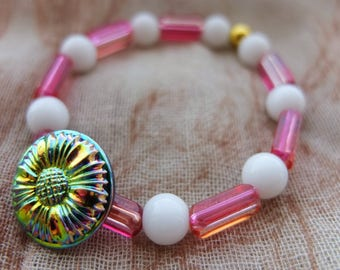 Beaded Flower Bracelet, Rainbow Flower Czech Glass Accent Button, Pink And White Beads, New And Reclaimed Beads