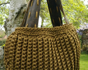 Handmade/Olive Green/Crochet/Knitted/ Rope/Original & Elegant Handbag with Genuine Leather Handles