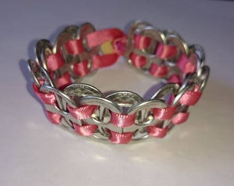 handmade recycled  can pull up cycled pink bracelet with button clasp