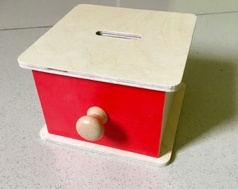 Montessori Toddler permanence box with drawer and discs