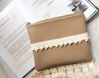 Taupe Crochet Fringe Clutch