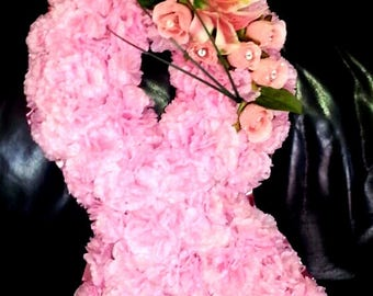 Pink Breast Cancer style artificial floral tribute grave funeral anniversary
