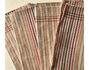 Free shipping 4  French linen towels red blue white 100 % pure linen unused