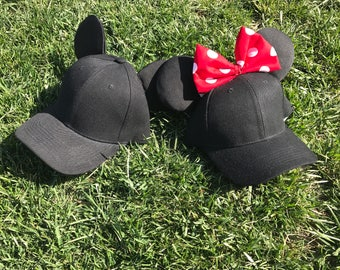 His & Hers matching caps-Mickey Minnie Hat Disney Inspired Mickey Minnie Hat- Disney Ears Hat- Minnie Ears Hat - Mickey Ears Hat