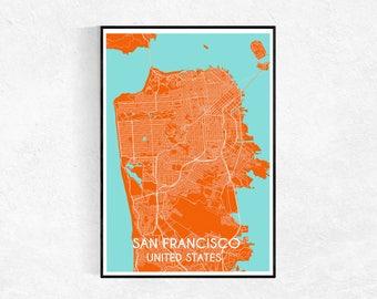 San Francisco City Map Poster, Custom Map Print, Map, Large Poster, Map Wall Art, Travel Poster, San Francisco, City Map Print