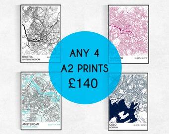 FOUR A2 City Map Prints, Custom City Map Prints, Street Map, Personalized, Wedding, Birthday, Housewarming Gift, Graduation, Map Wall Art