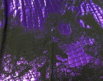Black 4 Way Stretch Lycra w/ Purple Snake Skin Metallic