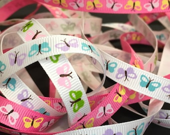 1.5 Metres Butterfly Grosgrain Ribbon, Bows, Spring, Summer, Garden, Nature,