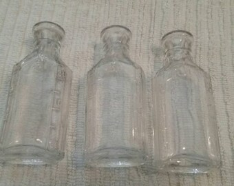 Vintage Clear Glass Medicine Bottles/Primitive Medical Supplies/Small Containers/Set of Three (3)/Antique Doctor/Physician Equipment