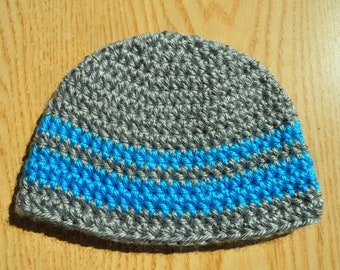 Gray and Blue Baby Hat/ Crochet Baby Hat/ Baby Boy Hat