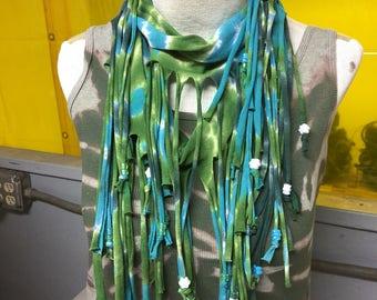 Tie dye fringe scarf