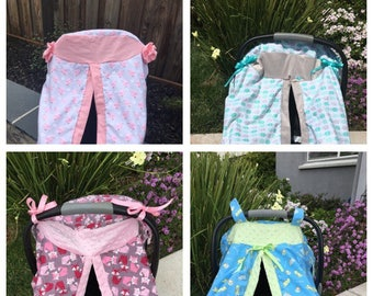 Custom baby carrier cover/ canopy // baby shower gift //