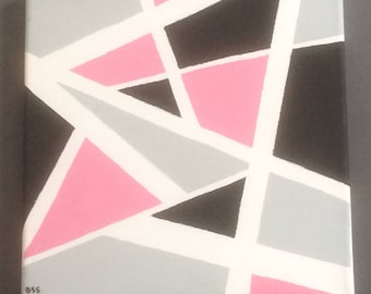 MODERN - 10''x10'' Acrylic on canvas, pink/black/gray